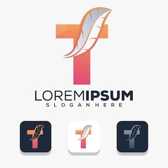 Красочная буква t с пером логотип шаблон