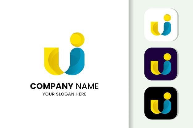 Красочная буква u логотип шаблон