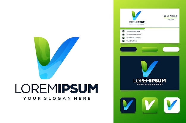 Красочная буква v дизайн логотипа автобус визитная карточка