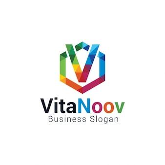 Colorful letter v logo