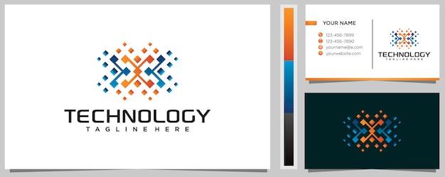Красочный шаблон дизайна логотипа буква x с визитной карточкой