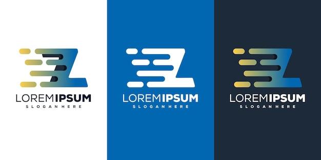 다채로운 편지 z 기술 로고 디자인