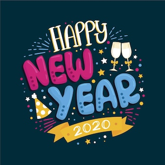 Colorful lettering happy new year 2020