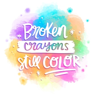 Colorful lettering message watercolor style