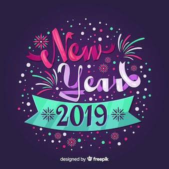 Colorful lettering new year background