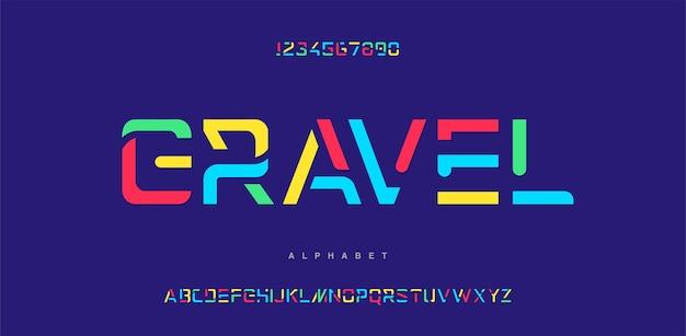カラフルな文字と数字のフォント。抽象的なモダンな都会のアルファベットのフォント。