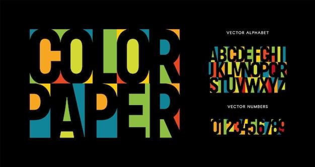 Набор красочных букв и цифр цветной вектор латинского алфавита радужный цвет шрифта цветной бумаги