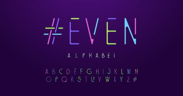 Colorful letters neon rounded font