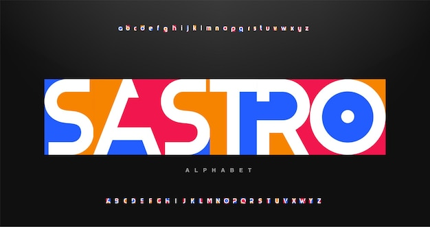 Colorful letters and numbers font.abstract modern urban alphabet font.