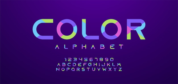Colorful letters and numbers font. modern alphabet