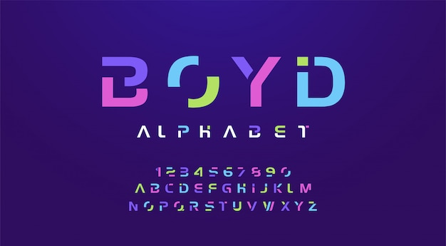 Colorful letters and numbers font.