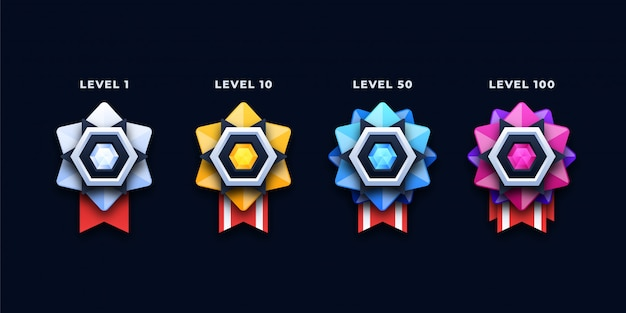 Colorful level medals