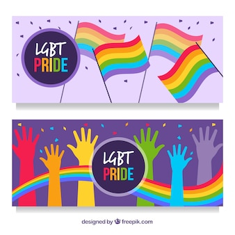Colorful lgbt pride banners