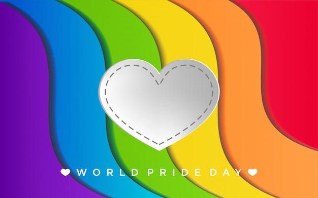 Colorful lgbt pride with heart in paper craft style