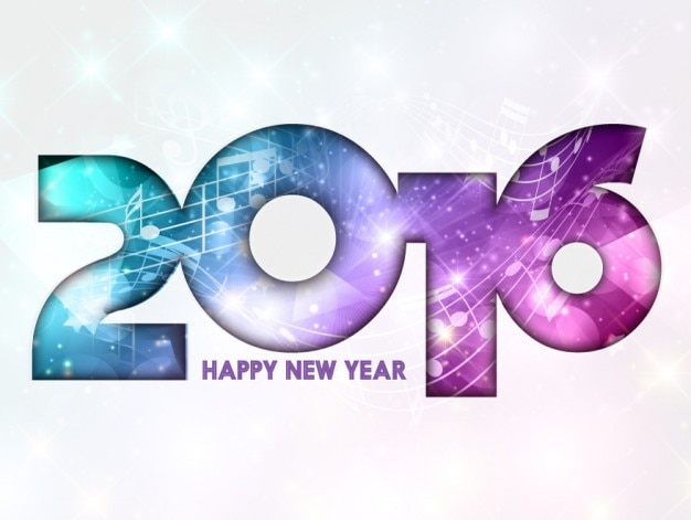 Colorful light 2016 new year numbers