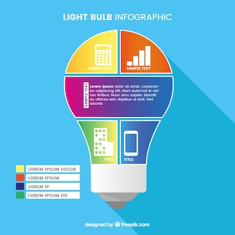 Colorful light bulb infographic