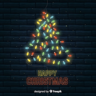 Colorful light christmas tree background