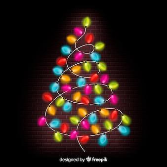 Красочный свет гирлянды рождественская елка фон Бесплатные векторы