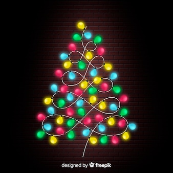 Красочный свет гирлянды рождественская елка фон