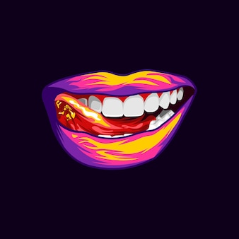 Красочный светлый губы иллюстрации дизайн вектор