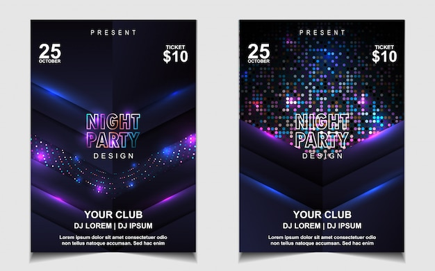 Colorful light night dance party music flyer