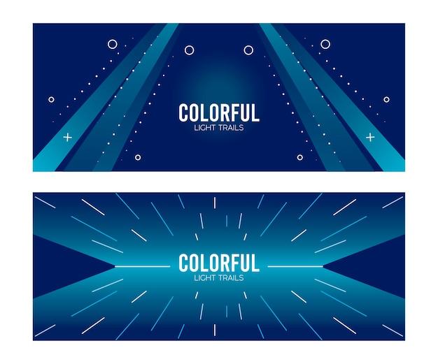 ブルースのイラストデザインのカラフルなライトトレイル