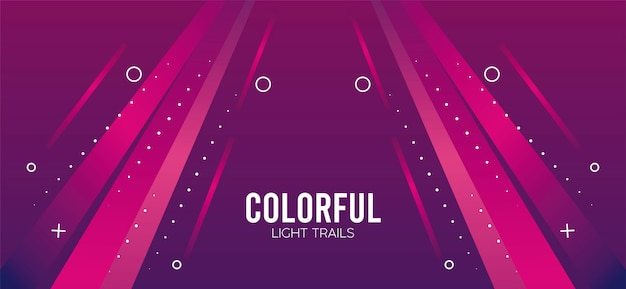 ピンクのイラストデザインのカラフルなライトトレイル