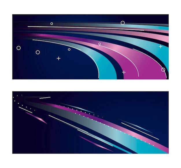 Красочный световой след в фиолетово-синем дизайне иллюстрации