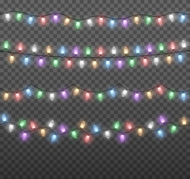 Красочные огни лампочки, изолированные на прозрачном фоне