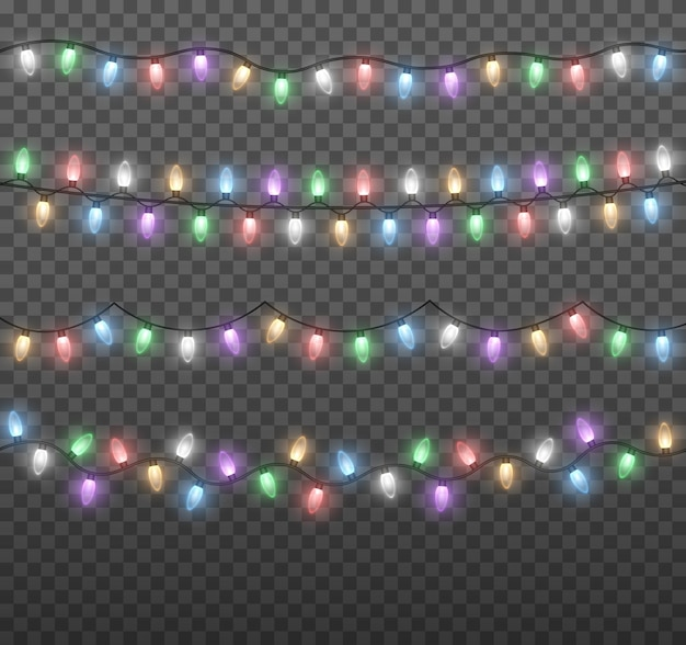 Colorful lights bulbs isolated on transparent background