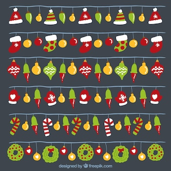 Colorful lights with decorative christmas objects