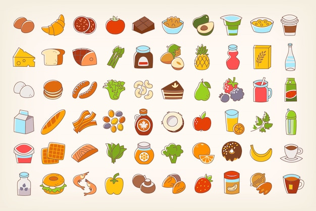 Colorful line stroke food icons