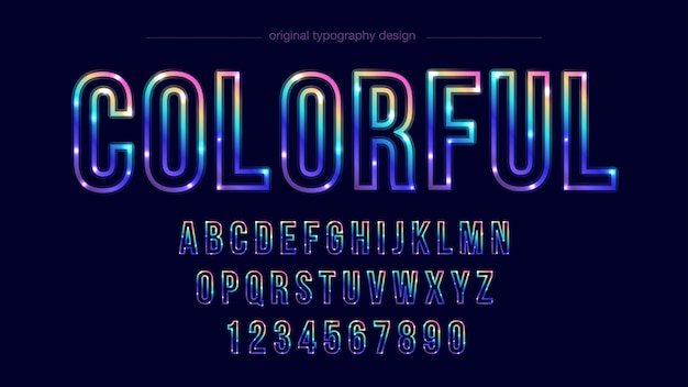 Colorful line typography design