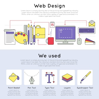 カラフルな線形webデザインコンセプト