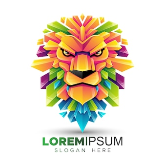 Colorful lion head logo template