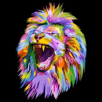 Colorful lion head on pop art style.