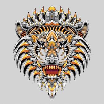 カラフルなライオンのイラストマンダラzentangle