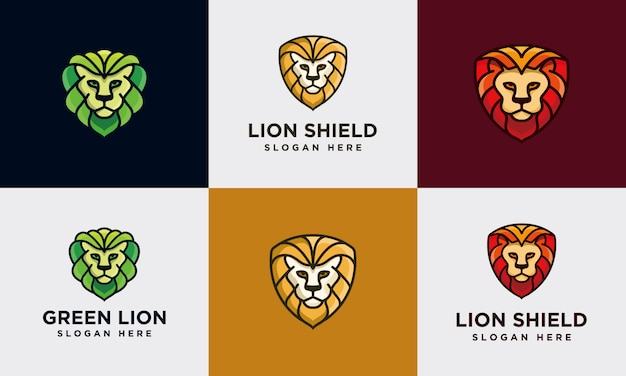 Colorful lion logo collection template