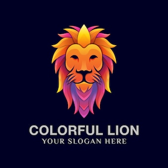 Colorful lion logo design template