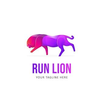 Красочный шаблон логотипа лев. логотип в стиле градиента с животными