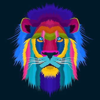 Colorful lion pop art creative artwork