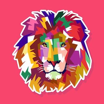 Красочный лев поп арт портрет дизайн