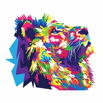 Colorful lion vector illustration