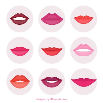 Colorful lips collection with flat design