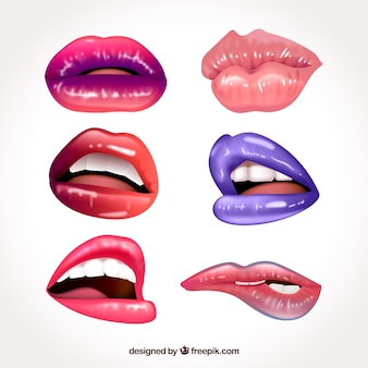 Colorful lips collection with realistic design