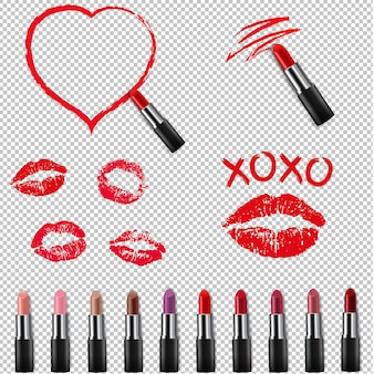 Colorful lipstick collection isolated transparent background