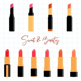 Colorful lipstick collection set