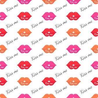 포장지 직물 직물을 위한 다채로운 립스틱 원활한 패턴t셔츠패션 인쇄