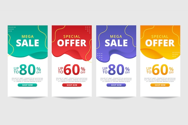 Colorful liquid abstract sale banner template collection
