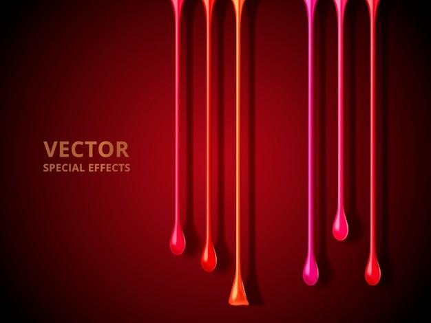 Красочные жидкие капли стекают, красный фон